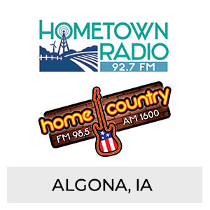 Hometown Radio 92.7 FM, Home Country FM 98.5 AM 1600 Algona, IA